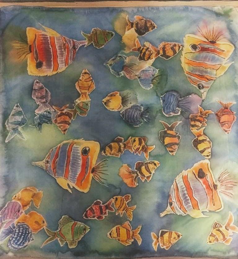 Malowanie najedwabiu: ryby